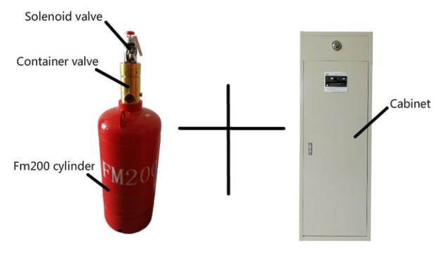 Hệ thống tủ  bình 100L Hfc227ea FM200 công nghiệp