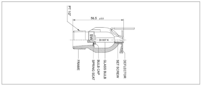 Đầu phun hướng ngang vách tường chống cháy SWH-1 và SWH-2
