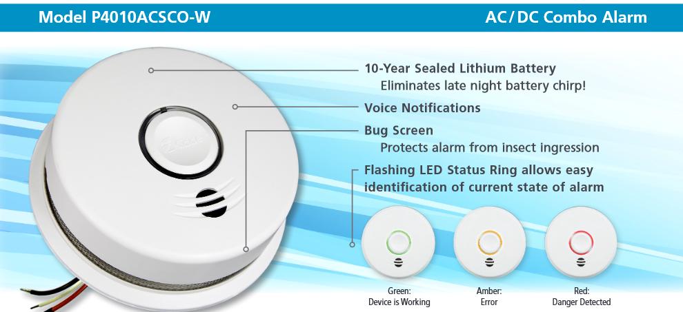 Đầu báo khóii và carbon Monoxide không dây AC P4010ACSCO-W